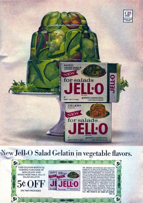 1950's cooks loved Jell-O: In mid-century, savory Jell-O recipes were very popular. Molded salads using veggies, hard-cooked eggs, and meats were en vogue for social events like luncheons, bridge games and cocktail hours. Not surprisingly the creators of Jell-O have introduced (and subsequently discontinued) dozens of flavors over the decades, hoping to keep the Jell-O craze alive. Here are some of the most surprising savory Jell-O flavors that have come and gone. What flavors are you familiar with?
