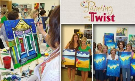 Have you ever hear of/attended Painting with a Twist, or something similar? It's a one time painting class for adults, sometimes with alcohol, where you learn and paint a specific picture as a class that you get to take home with you and keep. It usually lasts around 2 hours.