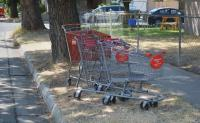 Many supermarkets in my area have installed electronic anti-theft devices on shopping carts. A locking device is attached to one of the front wheels, and an electronic barrier is installed around the perimeter of the store parking lot. If the cart is pushed past the barrier, the wheel lock activates and renders the cart unusable. This allows shoppers to push the cart to their cars and unload their purchases, but doesn't allow the cart to be removed from the premises. Is shopping cart theft a problem in your area?