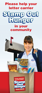 Donated food is collected by the members of the National Association of Letter Carriers. On May 9, when a letter carrier delivers the mail, s/he will pick up any bags of food left by the mail box. The food is then sorted and given to local food banks for distribution. Have you ever donated food to this drive?