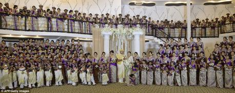 When newleyweds Nisansala and Nalin from Sri Lanka tied the knot in 2013, their wedding party was the biggest recorded wedding party on record--with 126 bridesmaids, 25 best men, 20 page boys and 23 flowers girls. No idea on how many guests attended, but were there any people who were invited that were NOT part of their wedding party? What are your feelings about this?