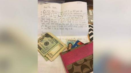 A story out of California recently went viral when a 10 year old boy, Nasim Lawrence found a wallet at a motocross event in Oakland, and he felt the need to do the right thing. He first searched for the woman, and when that didn't work, sent the wallet back to the address on the ID inside, together with a note. The woman who lost the wallet, and some of her friends, were so touched--especially with the note, they posted the story on social media. The note, in part, read: