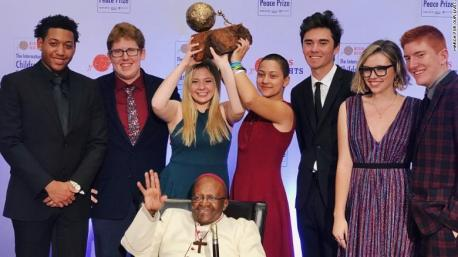 Survivors of the deadly shooting at a Parkland, Florida, high school were awarded the 2018 International Children's Peace Prize on Tuesday, November 20. In a ceremony celebrated in Cape Town, South Africa, Archbishop Desmond Tutu presented the prize to David Hogg, Emma González, Jaclyn Corin and Matt Deitsch. In the aftermath of the shooting that killed 17 people at Marjory Stoneman Douglas High School in February, students organized March for Our Lives and rallied in Washington, calling for stricter gun laws in the United States. The event was one of more than 800 planned across the United States and in cities worldwide. Tutu, who was awarded the Nobel Peace Prize in 1984 for his work to end apartheid in South Africa, called March for Our Lives one of the most significant movements led by young people, according to a statement posted on the Children's Peace Prize website. Do you feel, as I do, that this is a very fitting recipient for this particular Peace Prize?