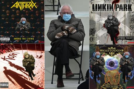 Bundled-up Bernie even made an appearance on a number of rock and heavy metal album covers, and guest appearances in some movies, like sharing a park bench in