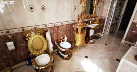 Talk about flushing money down the toilet! Well, you know how I feel. Alexei Safonov, the head of a Russian-based traffic police was arrested on charges of organizing a criminal gang that got $250,000 in bribes from cargo companies. However, that story made fewer headlines than the rich interiors of Safonov's house with its opulence, marble floors, crystal chandeliers, thrones instead of chairs, and gold everywhere—on walls, doors, ceilings, mirrors, furniture, and even on the toilet. Which begs the question, why would anyone ever need a gold toilet -- do you agree that it seems like a total waste of gold and money?