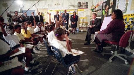 The 16 second-graders in Sandra Daniels' Sarasota classroom who met with President George W. Bush on the morning of Sept. 11, 2001 are all about 27 years old now. Each anniversary brings them back to their own special connection to that day. At the time, the Emma E. Booker Elementary School students were being recognized for their achievements in reading at a time when Bush was promoting his No Child Left Behind education reform program. To highlight the efforts, White House aides expected Bush to spend part of the day observing how Daniels works with her students. Daniels, who is still teaching after more than 30 years, said she had long wanted to visit the memorial
