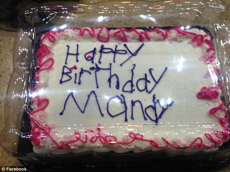 Lisa Aldrich of Grand Rapids, MI picked up a plain sheet cake in the bakery department of her local Meijer. She handed it to a woman behind the counter and asked her to write on it. She did not notice the cake until she was checking out upfront. The writing was very