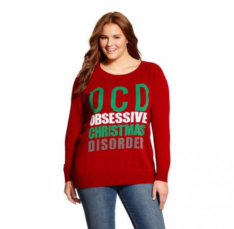 Here is a picture of the sweater. It says OCD - Obsessive Christmas Disorder. Would you buy this sweater?