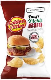 Have you tried the new flavor by Golden Flakes Chips called Tangy Pickle BBQ?
