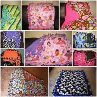 Tie blankets are made by taking two fleece panels of your choice of color and design, cutting slits a little over 5