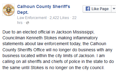 Do you think the Calhoun sheriff is justified to no longer pursue criminals in Jackson, and urging other county sheriffs to do the same?