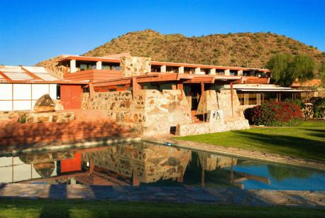 Taliesin West served as Wright's winter home from 1937 until 1959. Located in Scotsdale, Arizona, the structure is made of rock, wood, and concrete and was inspired by the local landscape.