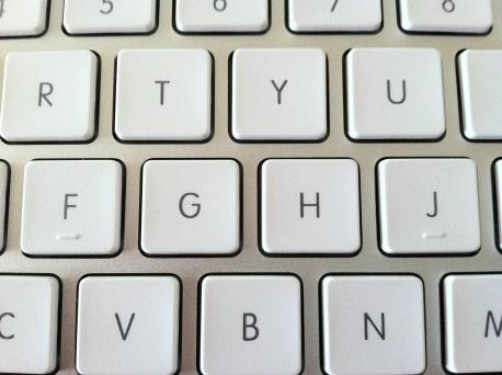Keyboard Bumps - If you look at a computer keyboard, any keyboard, you'll see two little bumps on the F and J keys. You may remember from high school typing that those bumps were there to find the correct placement for your fingers on the keyboard while keeping your eyes on the printed paper. When typing with two hands the proper way, your hands will be set up so that your left pointer finger is on F and your right pointer finger is on J. Without having to look at the keyboard, you just have to feel these bumps with your fingers to know that your hands are aligned properly and ready to type. Typing anyone?