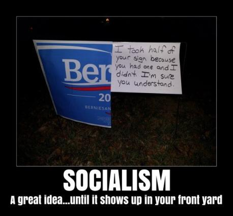 Bernie Sanders is a self-proclaimed socialist. I DO NOT support the idea of America becoming a socialist country, so therefore DO NOT support Bernie Sanders for president. Either way, I think this is funny. Do you find this to be a humorous demonstration of how socialism works?