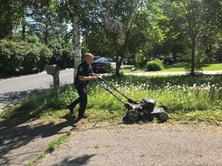 Officer Siltala then grabbed the woman's lawn mower and push-mowed her yard for her. Obviously going above-and-beyond, do you think the officer deserves special recognition for his dedication to caring for the community he serves?