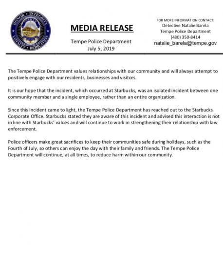 In a statement released on Twitter, the Tempe police department said they hoped the incident at Starbucks will be an