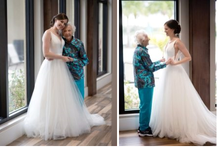 So, Tara decided to go to her Nana, instead, months before her wedding. In January, the bride-to-be secretly flew out with her unaltered dress to share an incredibly touching photoshoot with Stasia. Do you know of anyone who did something special for someone before their end so they could have a special experience?