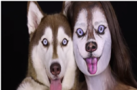 There are artists that change your face to look like your dog's face, see picture for example. Conversely, they can also make cat's face look like their owners. Have you seen art work like this?