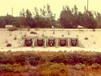 The photo is of the famous 5 cats, which were painted over cast iron drainage covers, circa 1960s. They are in/at the LA River. Are you familiar with these cats?