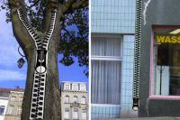 In your city, or maybe in your travels have you seen art in unusual places? (Photo: French artist Benoit Lemoine created this zipper tape so that he could add zippers to whatever public spaces were lacking zippers.)