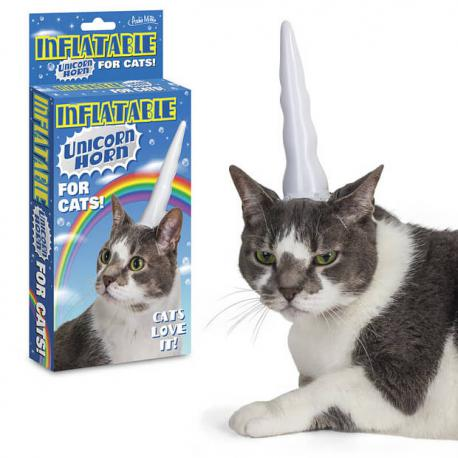 Inflatable unicorn horn for cats? (it says that cats love it)