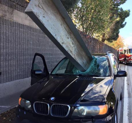 The huge piece of metal fell off of a truck traveling on Interstate 280 southbound, San Jose Firefighters told CNN affiliate KRON. It hit the road and bounced in the air before crashing through the windshield of the BMW X5 SUV. The driver was able to pull off to the side of the road safely. The driver walked away; his safety is due to: