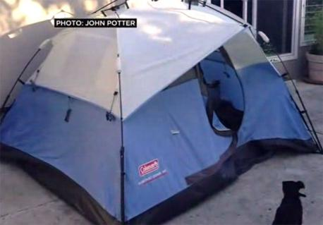 *LAist*: Some opportunistic 22-year-old dude who lives near the Googleplex in Mountain View decided that someone might want to pay him 20 bucks a day to stay in a tent on his back patio. It's with some sadness that I inform you that even before the media picked up his Airbnb listing for the tent, he had gotten enough response that he more than doubled the nightly rate to $46, and offered it for $965 a month. (The listing is no longer live, possibly because it's fully booked for the next six months.) Yes, the house, and tent, are not even walking distance to Google, but are walking distance to Caltrain. Landlord John Potter told CBS 5 (video below) said he saw an opportunity because rentals in the area average around $2000 a month. He's unapologetic about his bid at entrepreneurship, saying,