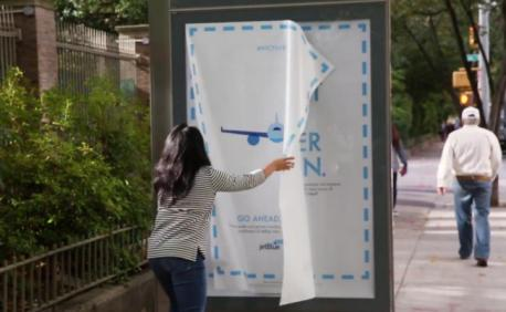 *TLStanley*AdFreak*: Jet Blue hung huge posters randomly around New York, and if you were brave enough, you would be rewarded with flight vouchers, free ice cream, New York Jets tickets, and