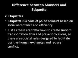 Check off what you know, regarding etiquette and manners:
