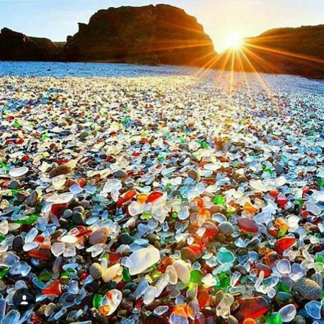 Glass Beach is in MacKerricher State Park near Fort Bragg, California that is abundant in sea glass created from years of dumping garbage into an area of coastline near the northern part of the town. Have you ever been to Glass Beach?
