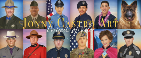 The picture that I had last week of Deputy Pickett was drawn by Officer Castro. Looking at the photos, do you like his work that he presents to the law agencies and families of the fallen?