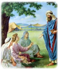In Sunday School, I read a story about Abraham, who was once greeted by 3 visitors. He treated them with kindness and hospitality by washing their feet and giving them something to eat. The men tell Abraham that his wife will soon have a child despite her old age. Have you heard this story before?