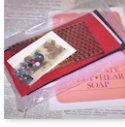 Apparently, crafting with SweetHeart soap was something of a thing mid 20th century. Customers could order small kits like the one shown to use in decorating their soap tablets. Have you ever made any kind of handicraft from a kit?