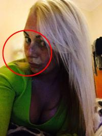 Natasha Boden, 26, from Blackpool, Lancashire, took this picture of herself after dyeing her hair blonde, only to find the shape of a spirit face on her shoulder in the resulting image. Do you see a ghost in this picture?
