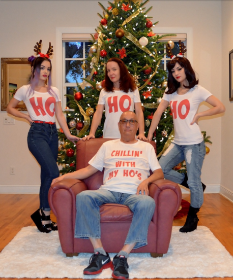 One family had its sights firmly set on hilarity when they posed for their annual happy snap, but not everyone's laughing. It seems that some people find the idea of a dad donning a 'Chillin' with my ho's' top, while his wife and two daughters sport T-shirts bearing the legend 'Ho', a touch creepy. Do you find this funny or disturbing?