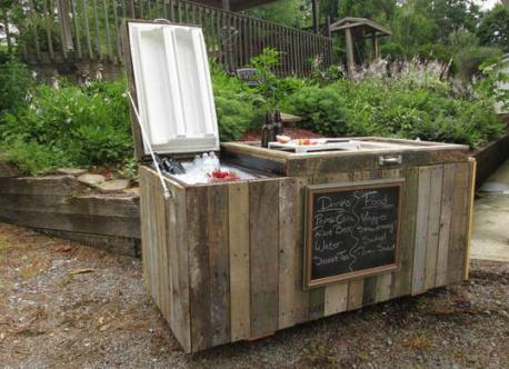 Would you consider taking an old refrigerator and turn it into a rustic cooler by taking disassembled pallets to form a chic exterior and can also double duty as surface for setting up food and drink?