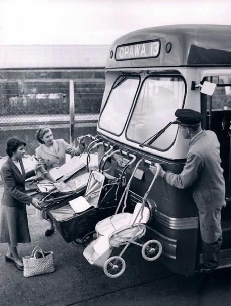 This is how baby carriages were transported on the front of a bus in New Zealand in 1955. Have you ever used a public bus?