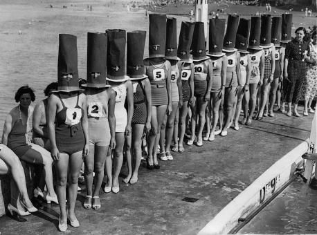 A best legs competition in England in 1936. Would you compete in a contest for best legs?