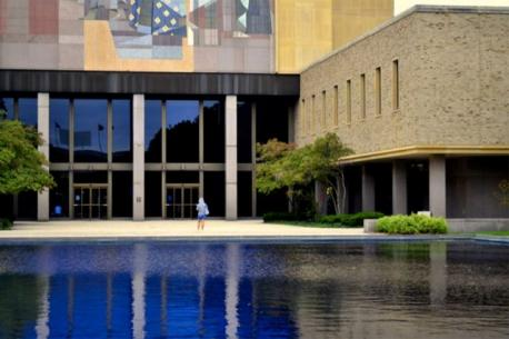 Indiana: The Theodore Hesburgh Library - The Theodore Hesburgh Library at Notre Dame features a mural commonly referred to as