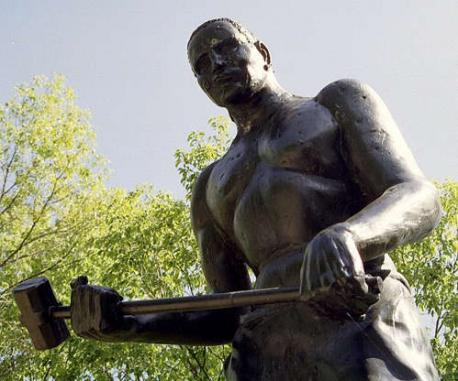 John Henry - Commemorated in a ballad, John Henry is a U.S. folk hero, especially to African Americans and labor unionists. Using his sledge hammer, he made holes in rock faster than