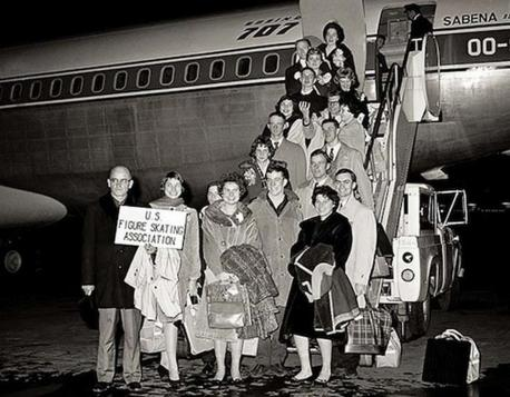 The 1961 U.S. figure skating team posing for a photo before their flight to the World Figure Skating Championship in Belgium. The plane crashed while attempting to land. Have you heard about this story before?