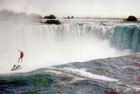 Robert Overacker, a 39-year-old man from Camarillo, California, went over the Canadian Horseshoe Falls at approximately 12:35 p.m. October 1st on a single jet ski. Entering the Niagara River near the Canadian Niagara Power Plant, he started skiing toward the Falls. At the brink, he attempted to discharge a rocket propelled parachute that was on his back. It failed to discharge. His brother and a friend witnessed the stunt. At first it seemed that he had survived the plunge, but the rapids have a strange way of flailing a corpses' arms around, often giving the appearance of a person swimming. Robert Overacker was later retrieved from the water, taken to Niagara General Hospital where he was pronounced dead. Have you heard about this story before?