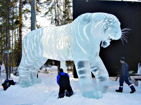 Heather Brice is a World Champion Sculptor who mainly carves and maintains sculptures at Alaska's Aurora Ice Museum. The picture shows a 12 foot tall tiger that she helped carve. After seeing the tiger are you interested in checking out her other works of ice art?