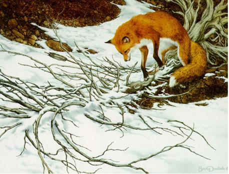 For the past few months I've been searching the thrift stores for a snow scene picture, I was especially looking for one that also featured an animal. I found this one today in Goodwill, matted and framed for $5.99. Are you familiar with the artist Bev Doolittle?