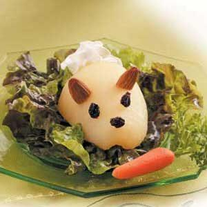 Have you ever eaten a Bunny Salad? (Made with a pear-half and cottage cheese for a tail.)